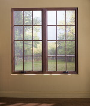 A twin casement window as seen from indoors.