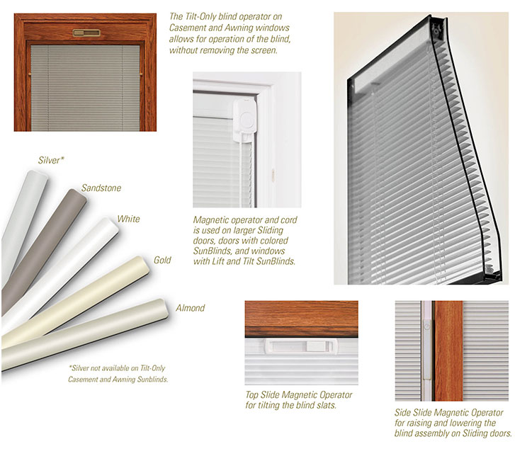 Options for Sunrise Windows blinds between the glass.