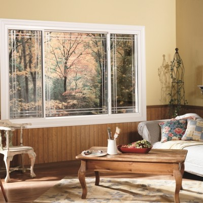 sliding window living room with design