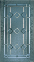 A decorative pane of glass with a Gretna Leaded pattern.