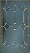 A decorative pane of glass with a Hannibal Leaded pattern.