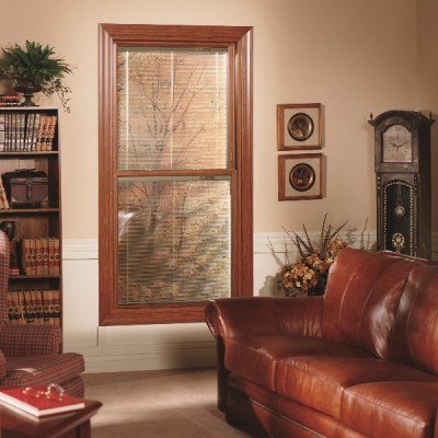 Dark wood double hung window office