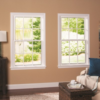 double hung window overlooking the garden