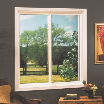 White frame single slider window