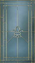 A decorative pane of glass with a St. Louis Leaded pattern.