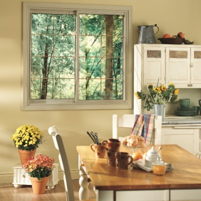 Tilt and slide single sliding window from inside a kitchen.