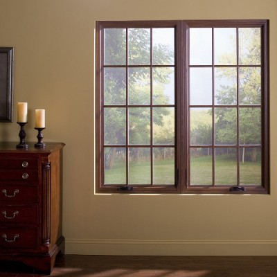 twin casement window straight medium wood