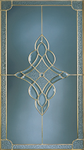 A decorative pane of glass with a Vicksburg Leaded pattern.