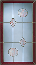 A decorative pane of glass with a Vidalia Leaded pattern.