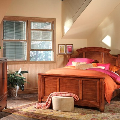 Brown double-hung window from within a bedroom.