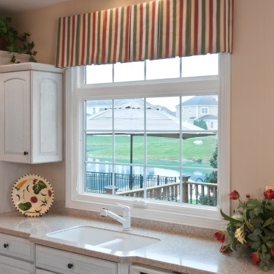 awning window in kitchen with grids