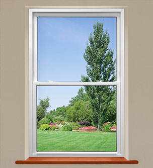 Interior view of a white single-hung window.