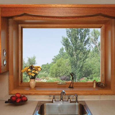 Projected frame window for your kitchen medium wood