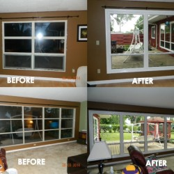 Before and After windows looking out on deck interior