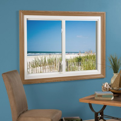 essentials collection sliding window white with medium wood frame