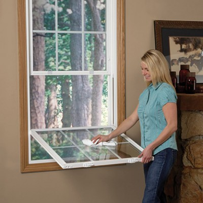 Essentials Collection double hung windows demonstration for cleaning