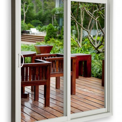 essentials collection sliding door white with deck