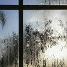 heavy condensation on window pane shot from inside to outside