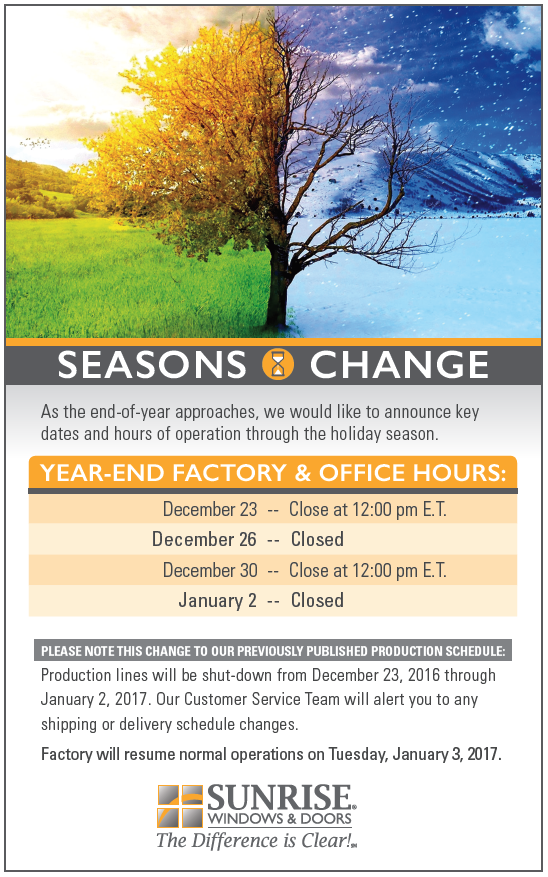 Year End Hours - Closed 11/24, 11/25, 12/26, 1/2; Closing at noon 12/23, 12/30